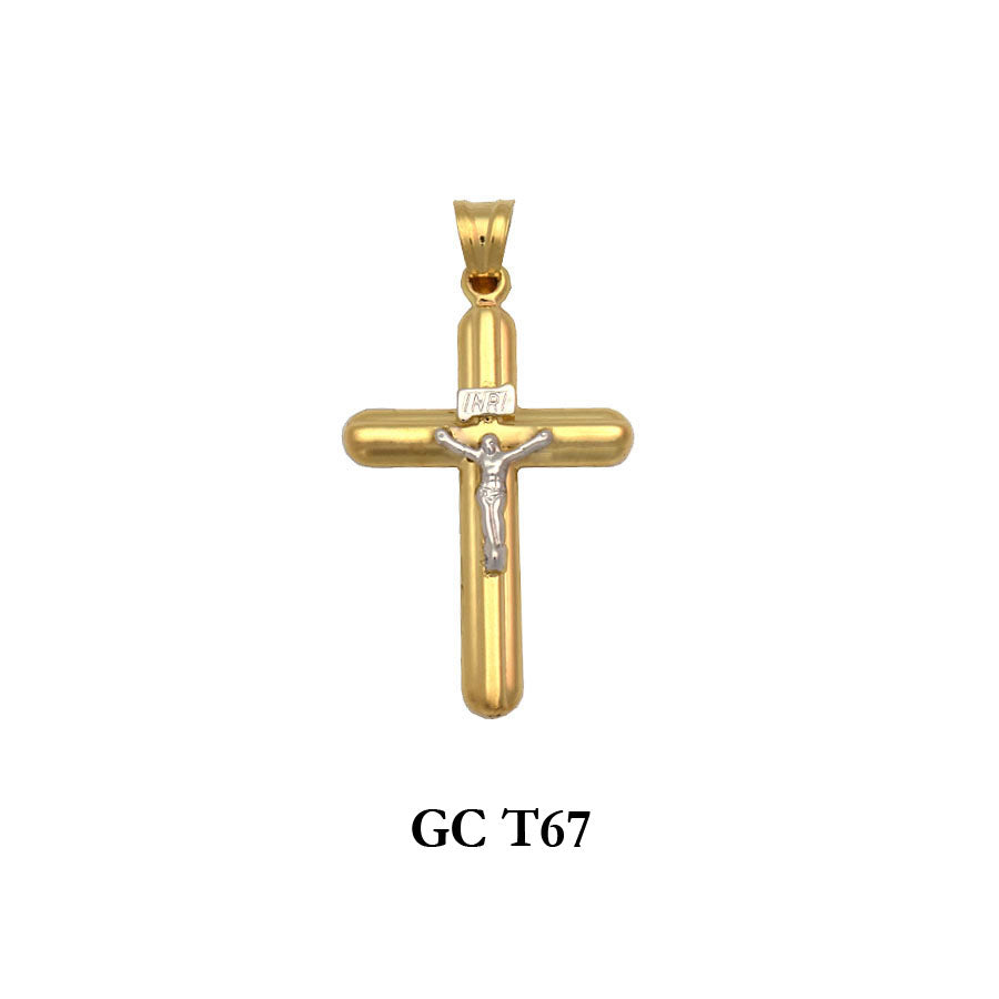 14K Gold two-tone crucifix cross pendant