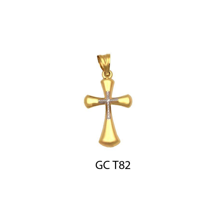 gold two-tone flattering cross pendant