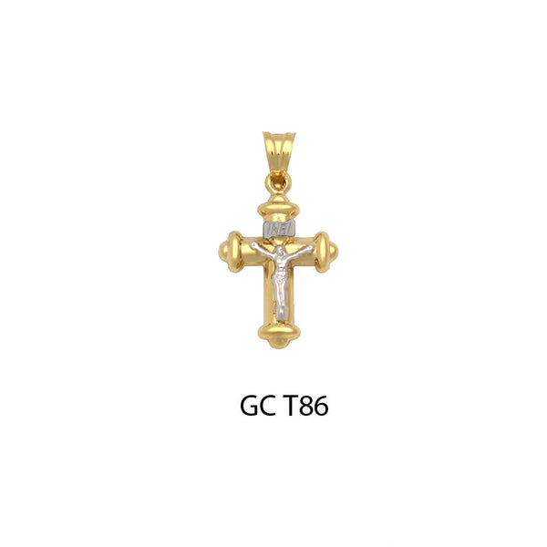14K Gold two-tone crucifix cross flattering pendant
