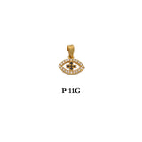 Sterling silver gold plated eye pendant with CZs