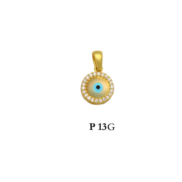 Sterling silver gold plated evil eye pendant with CZs