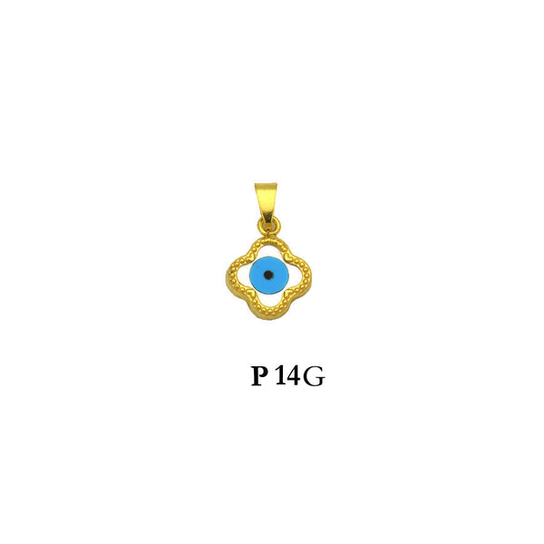 Sterling silver gold plated evil eye pendant