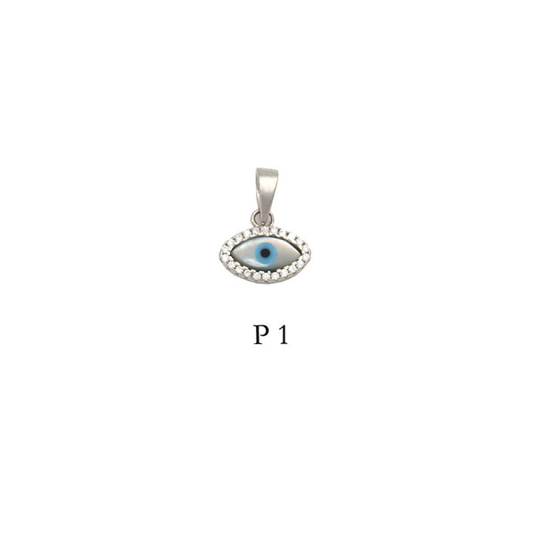 Sterling Silver 925 evil eye pendant with CZs