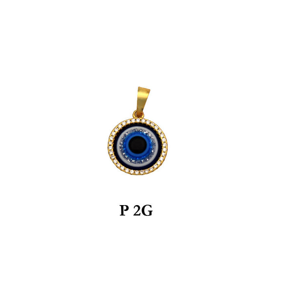 Sterling Silver 925 evil eye gold plated round pendant with CZs