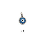 Sterling silver 925 evil eye round pendant with CZs