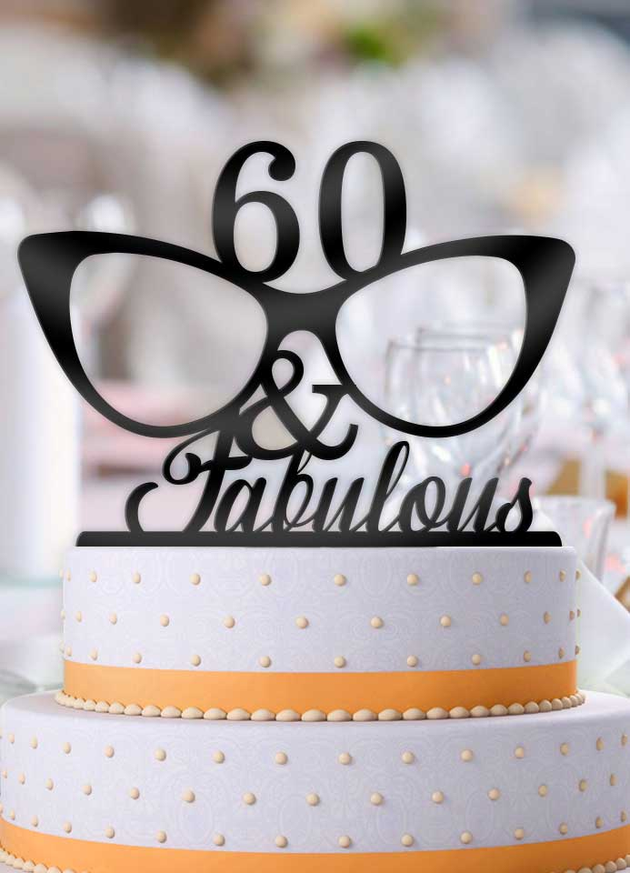 Personalized Age and Fabulous Glasses Birthday Cake Topper - Bee3dgifts