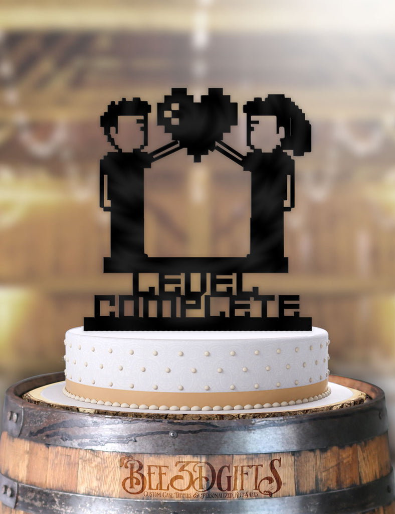 8 Bit Couple Level Complete Cake Topper - Bee3dgifts