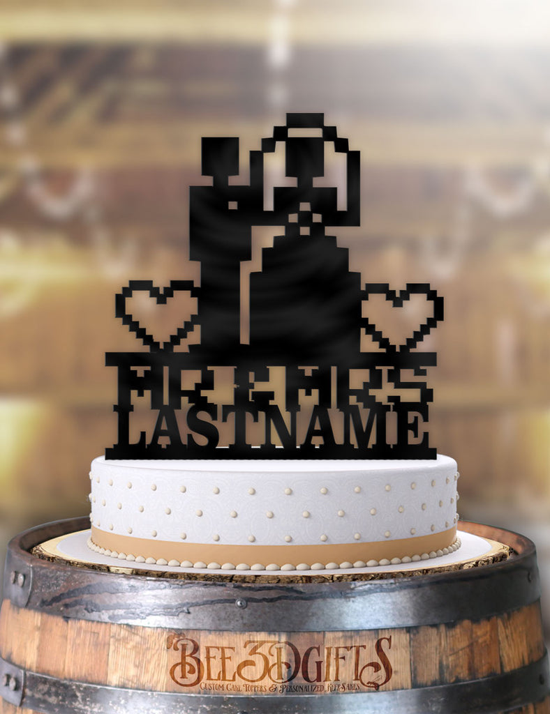 Personalized 8 Bit Couple Mr Mrs Cake Topper - Bee3dgifts