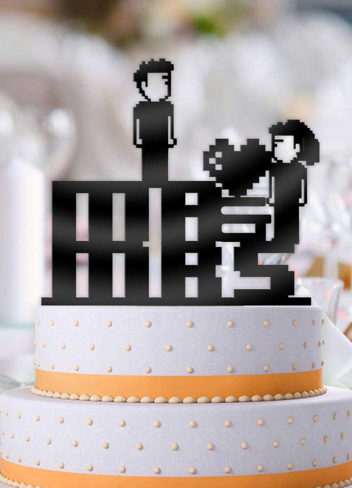 8 Bit Mr and Mrs Couple Wedding Cake Topper - Bee3dgifts