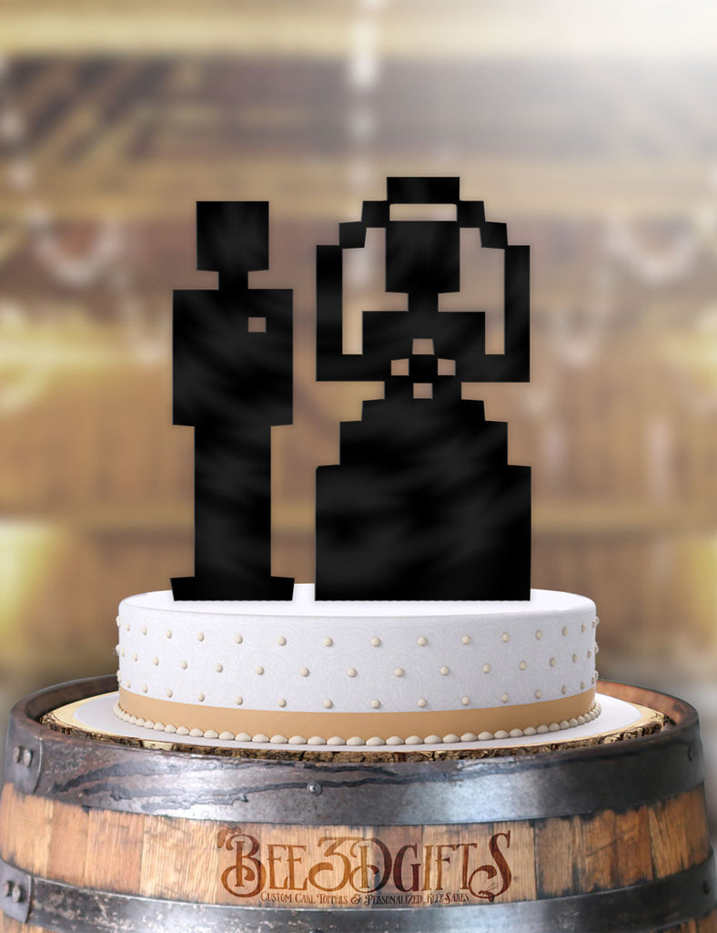 8 Bit Bride and Groom 2 piece Cake Topper - Bee3dgifts