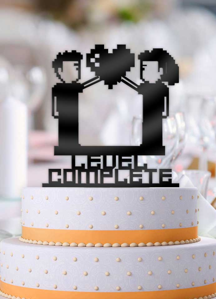 8 Bit Couple Level Complete Wedding Cake Topper - Bee3dgifts