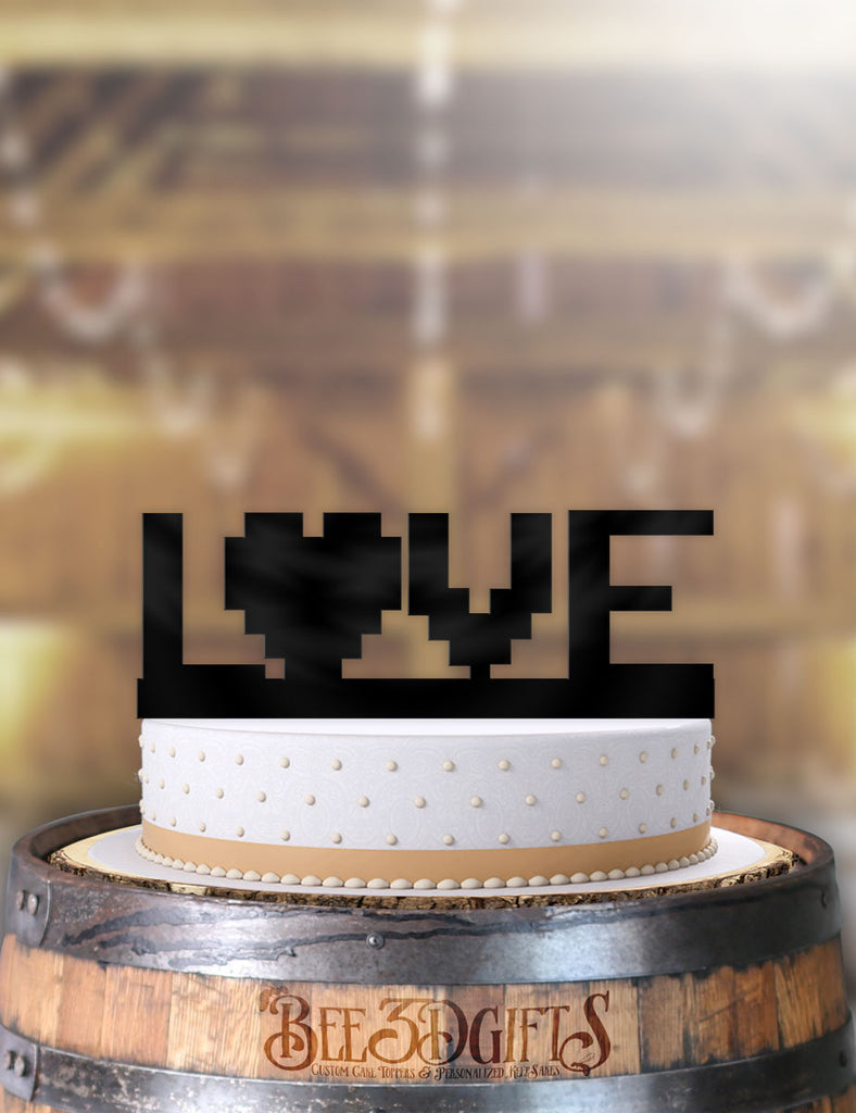 8 Bit Love Cake Topper - Bee3dgifts