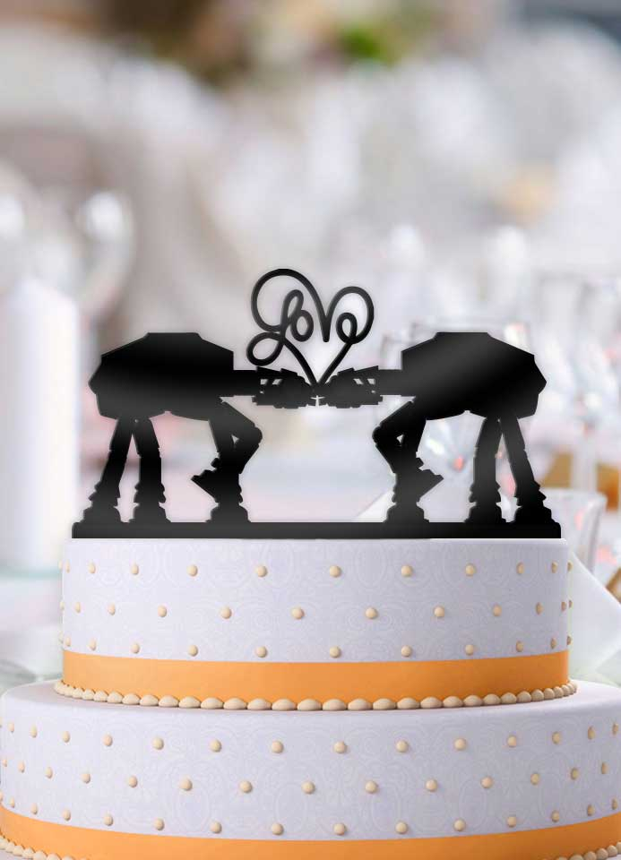 ATAT Imperial Walker Star Wars Love Wedding Cake Topper - Bee3dgifts
