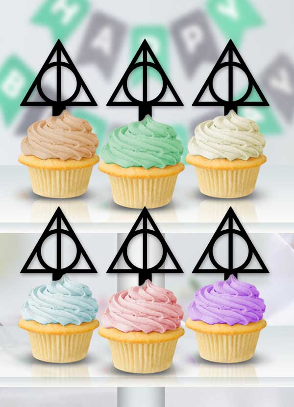 Harry Potter Deathly Hallows Cupcake Toppers - Bee3dgifts