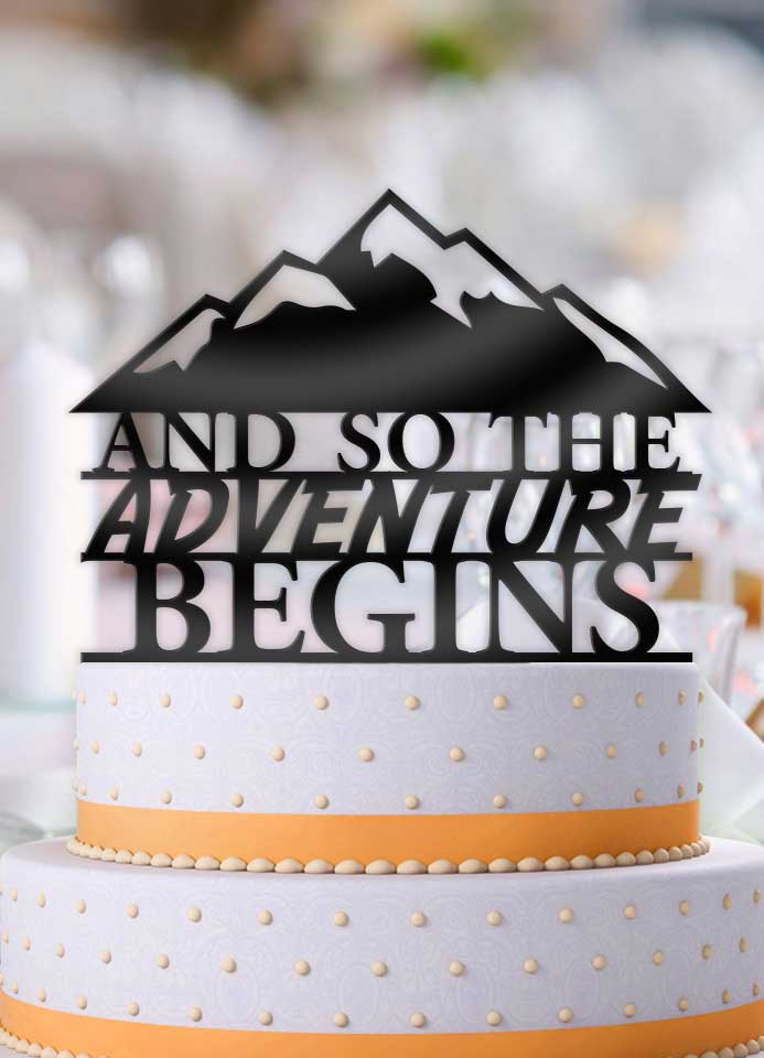 And So The Adventure Begins Mountainscape Wedding Cake Topper