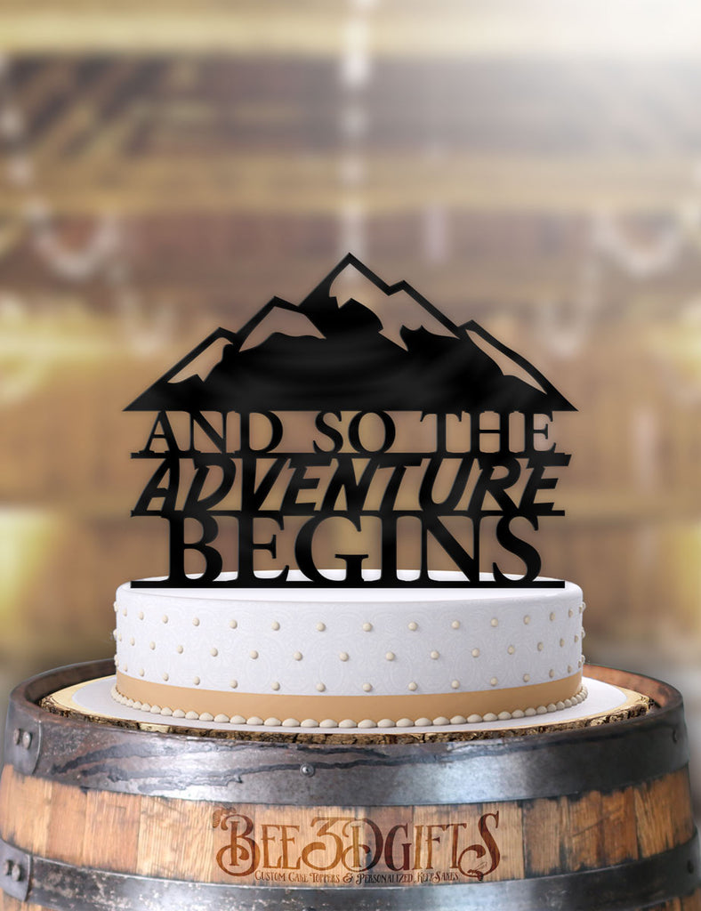 And So The Adventure Begins Mountainscape Cake Topper - Bee3dgifts
