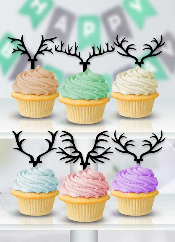 Antler Cupcake Toppers - Bee3dgifts
