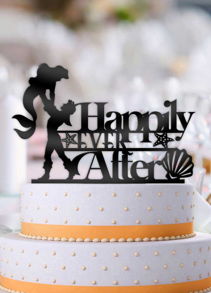 Ariel and Eric Happily Ever After Wedding Cake Topper - Bee3dgifts