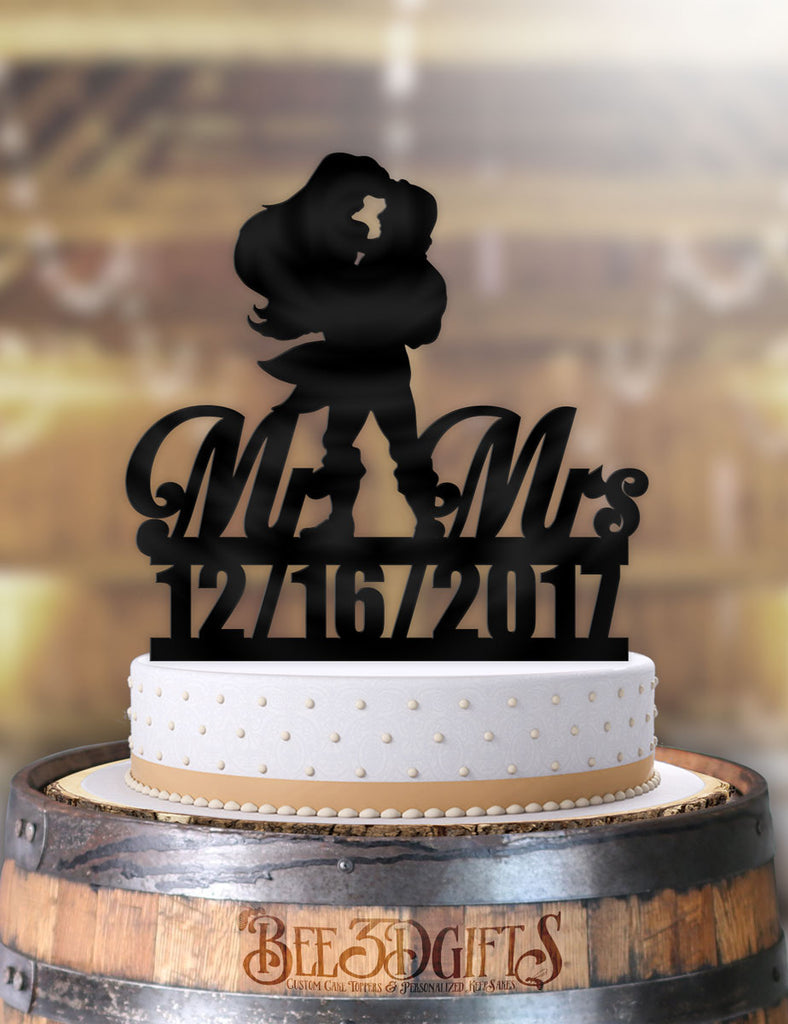 Personalized Eric Holding Ariel Mr Mrs with Date Cake Topper - Bee3dgifts