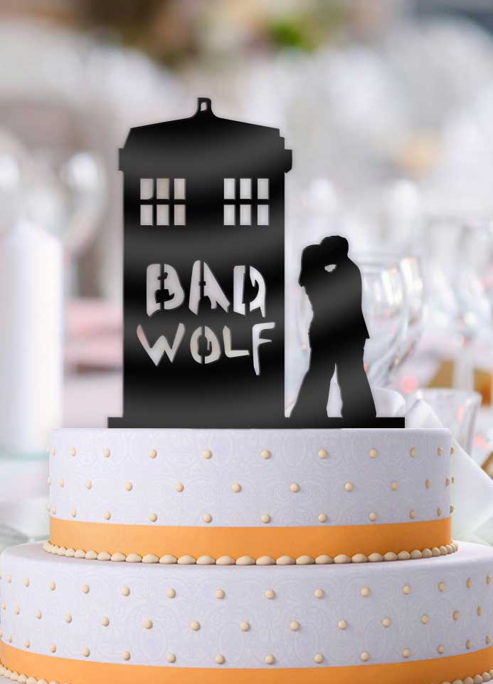 Doctor Who Bad Wolf Tardis Couple Kiss Wedding Cake Topper - Bee3dgifts