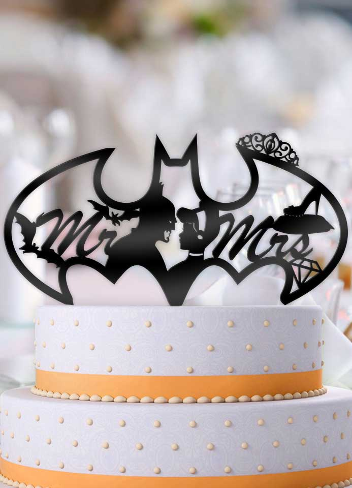 Batman and Cinderella Bat Logo Mr Mrs Wedding Cake Topper