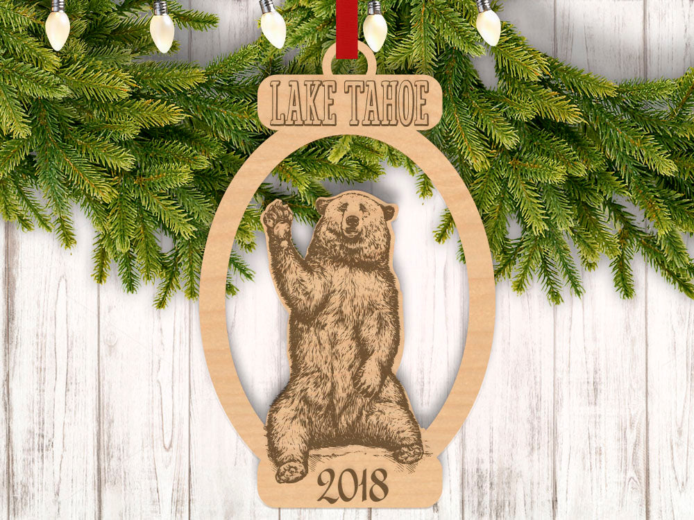 Personalized Christmas Bear Waving with Location and Year Engraved Holiday Christmas Ornament - Bee3dgifts