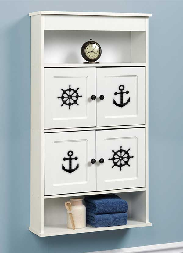 Nautical - Acrylic Room and Cabinet Accents and Wall Decorations 4 Piece Set - Bee3dgifts
