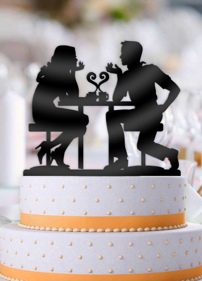 Cafe Love Couple Wedding Cake Topper