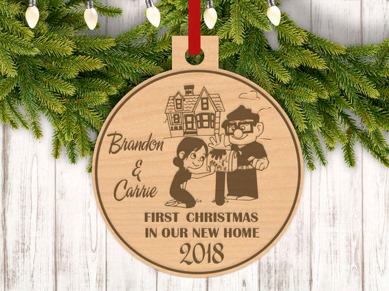 Personalized Carl and Ellie With Names and Year Engraved Holiday Christmas Ornament - Bee3dgifts