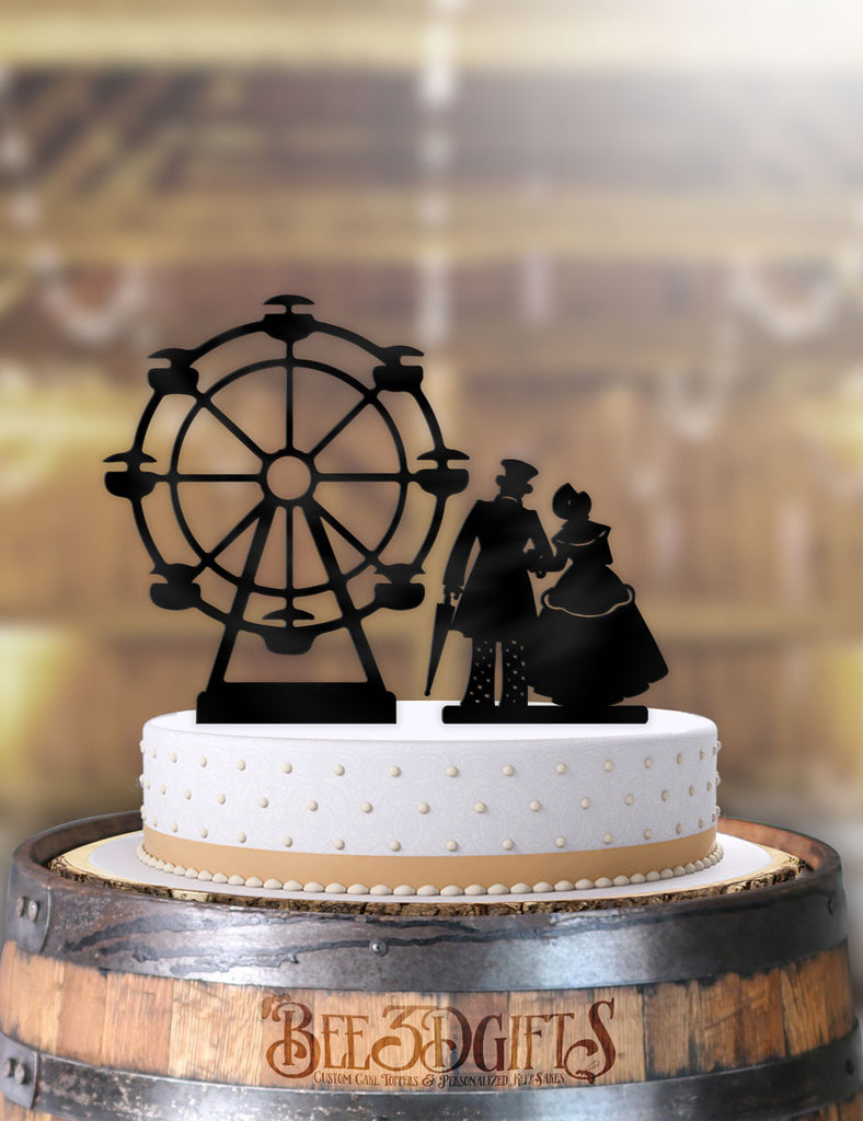 Carnival Couple with Ferris Wheel 2 Piece Cake Topper - Bee3dgifts