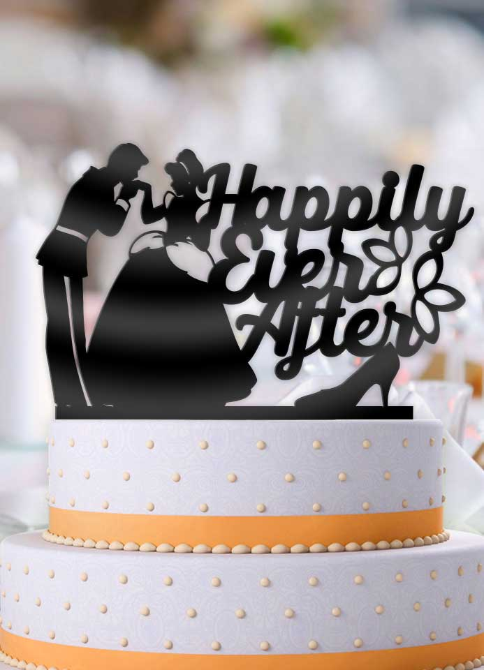 Cinderella and Prince Charming Happily Ever After with Slipper Wedding Cake Topper - Bee3dgifts