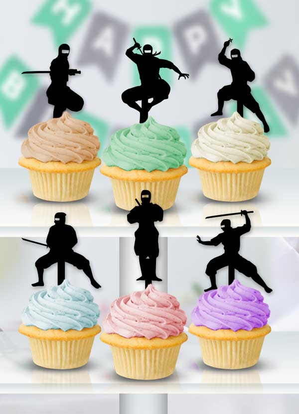 Cupcake Ninja Toppers - Bee3dgifts