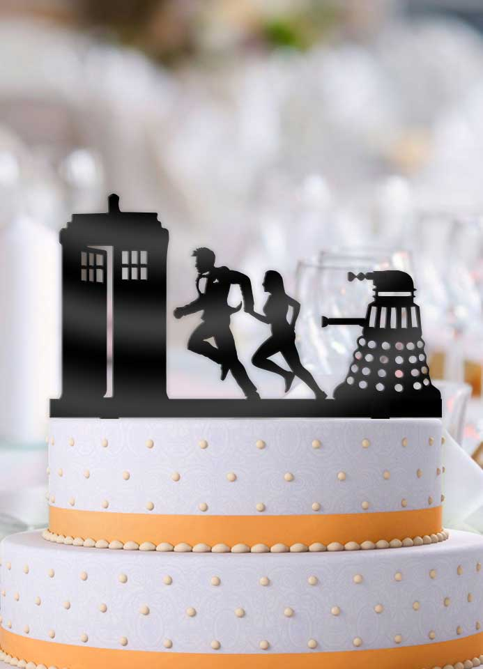 Doctor Who and Companion Rush to the Tardis with Dalek Wedding Cake Topper - Bee3dgifts