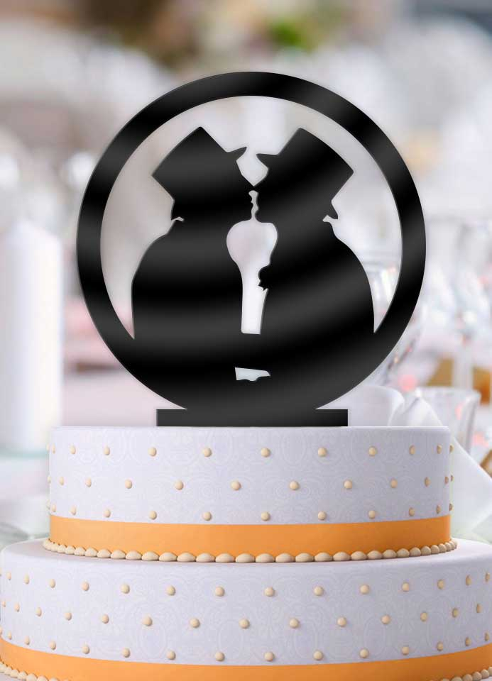 Debonair Men Same Sex Wedding Cake Topper - Bee3dgifts