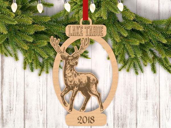 Personalized Christmas Deer with Location and Year Engraved Holiday Christmas Ornament - Bee3dgifts