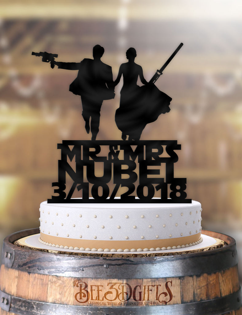 Personalized Star Wars Couple Mr Mrs with Name and Date Cake Topper - Bee3dgifts
