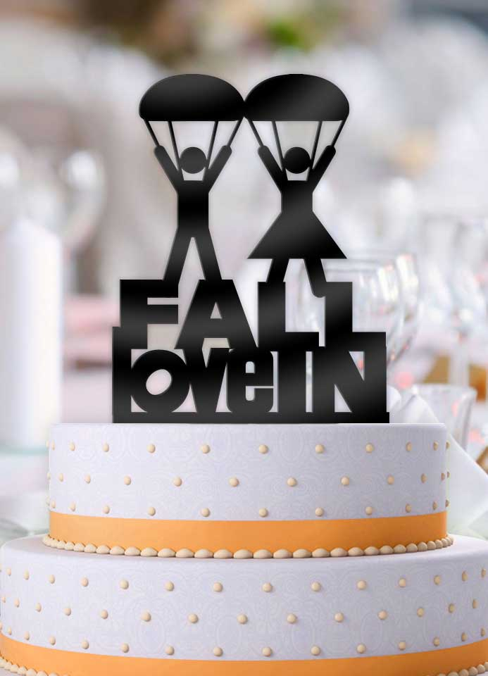 Fall In Love Parachute Couple Wedding Cake Topper - Bee3dgifts