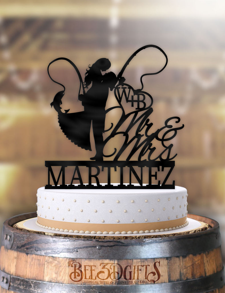 Personalized Fishing Couple with Name and Initials Cake Topper - Bee3dgifts