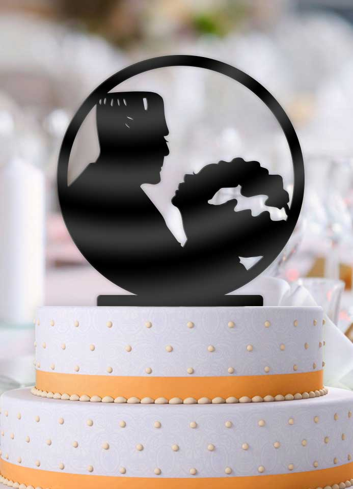 Frankenstein and Bride Profile Wedding Cake Topper
