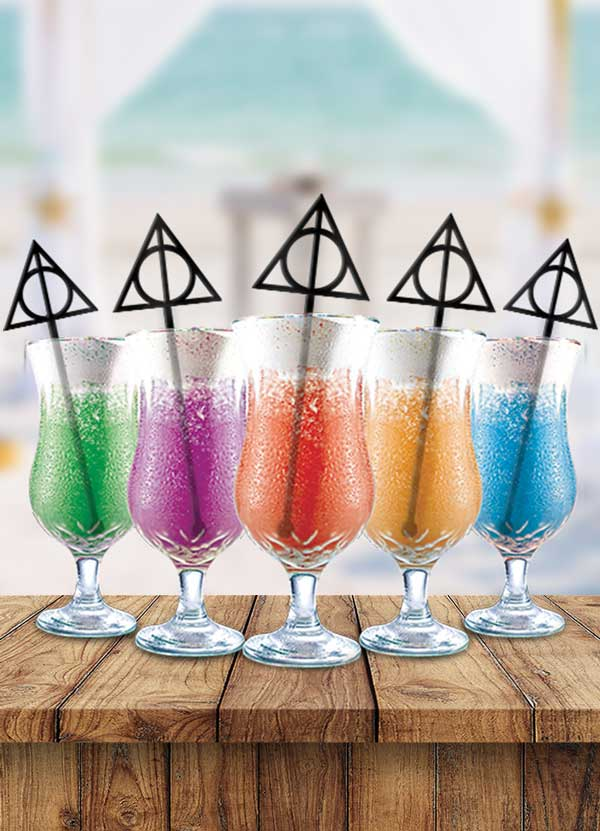 Harry Potter Deathly Hallows Cocktail Party Drink Stirrers
