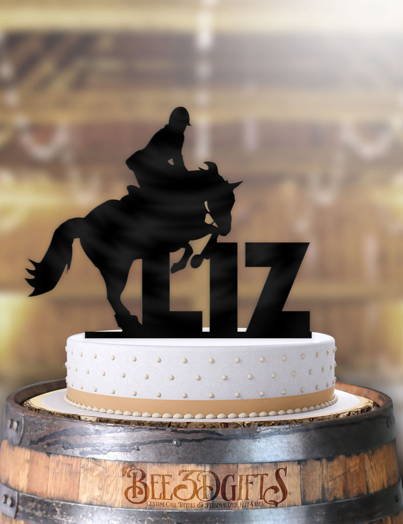 Personalized Equestrian Horse Jump Birthday Cake Topper - Bee3dgifts