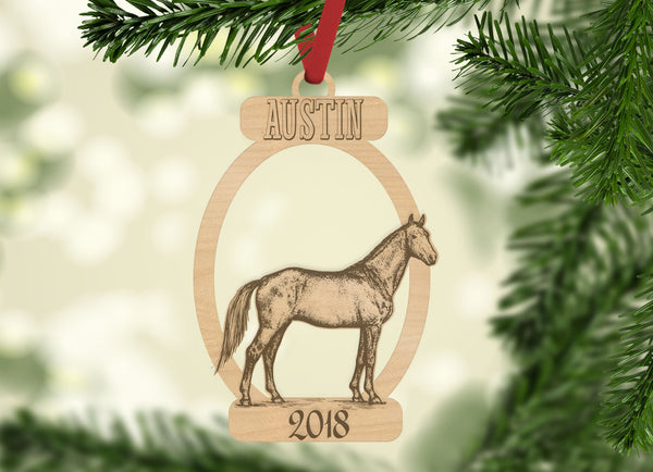 Personalized Christmas Horse with Location and Year Engraved Holiday Christmas Ornament - Bee3dgifts