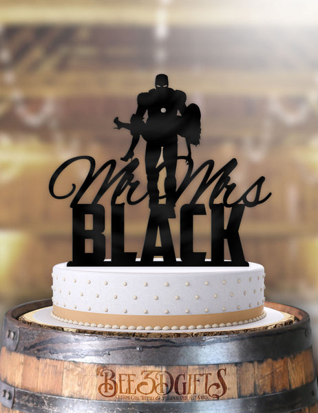 Personalized Iron Man Holding Bride With Name Cake Topper