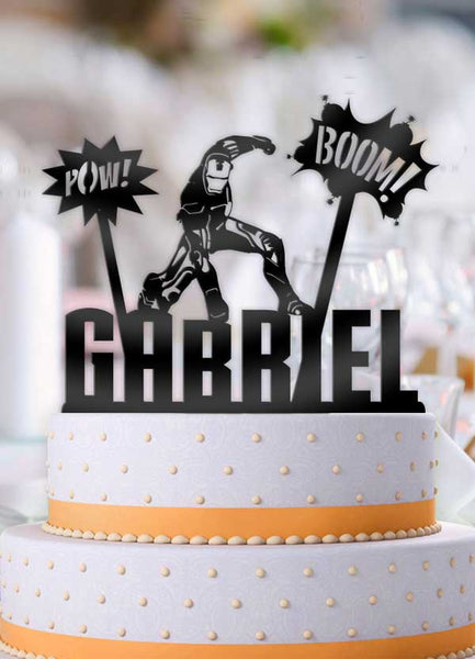 Personalized Iron Man Boom Pow With Name 3 Piece Birthday Cake Topper