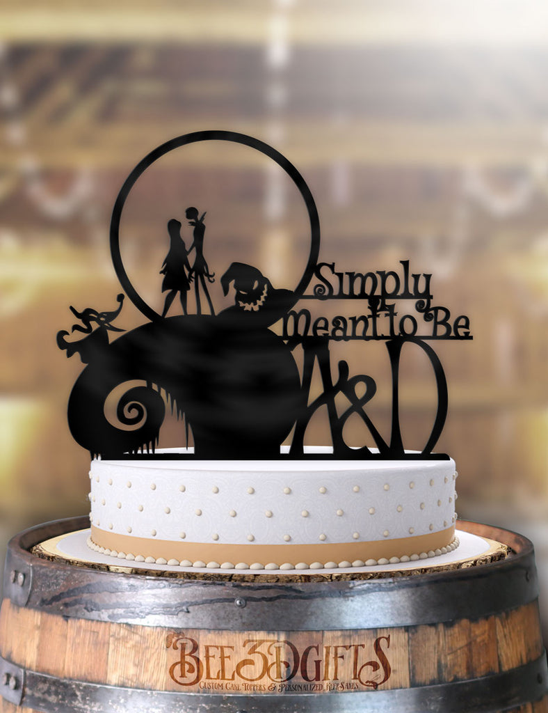 Personalized Jack and Sally Simply Meant To Be with Initials Cake Topper - Bee3dgifts