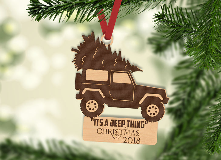 Personalized Jeep Thing With Year Engraved Holiday Christmas Ornament - Bee3dgifts