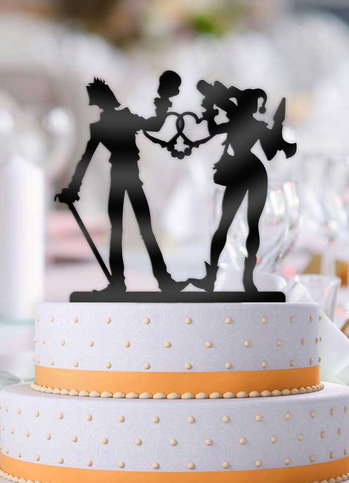 Joker and Harley Love Cuffs Wedding Cake Topper - Bee3dgifts