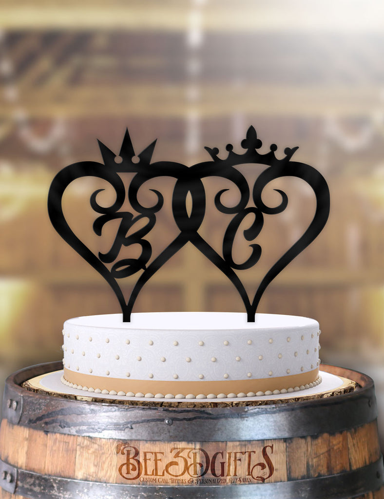 Personalized Curly Hearts Crowns with Initials Cake Topper - Bee3dgifts
