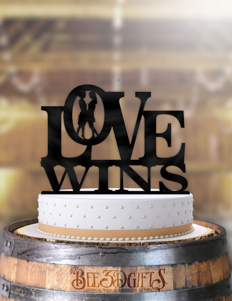 Love Wins Female Same Sex Cake Topper - Bee3dgifts