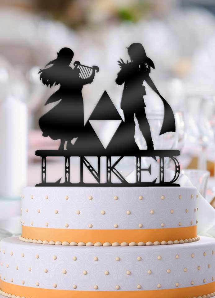 Musical Link and Zelda Linked Wedding Cake Topper - Bee3dgifts